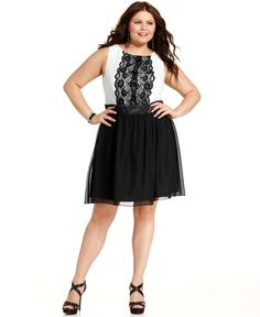 Trixxi Plus Size Dress, Sleeveless Lace A-Line - Plus Size Dresses - Plus Sizes - Macy's