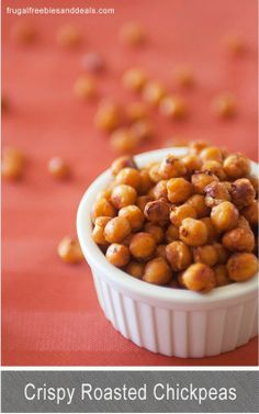 Crunchy Roasted Chickpeas   Need an great need snack for yourself or your kids? These are so yummy and addictive!