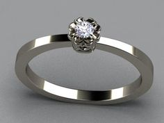 Solitaire Diamond Promise Ring  by Christopher Michael in Sterling Silver