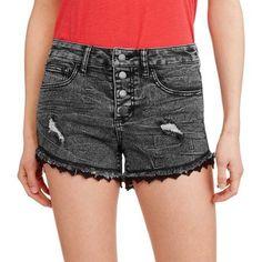 No Boundaries Juniors' Black Denim Shorts with Destruction - Walmart.com