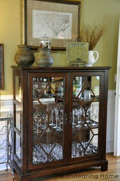 Curio into a nice dining room bar for glassware Decor, Furniture Design, Dining Room Bar, Furniture, Bar Furniture, Home Furniture, Curio Cabinet Decor, House Furniture Design, Cabinet Decor