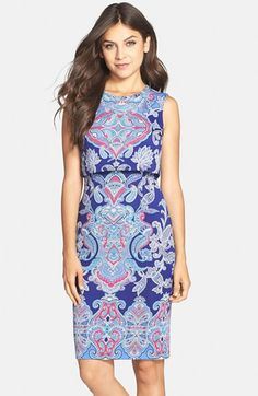 Maggy London 'Crown Paisley' Popover Scuba Dress available at #Nordstrom