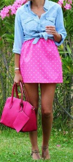 Bright Pink + Chambray