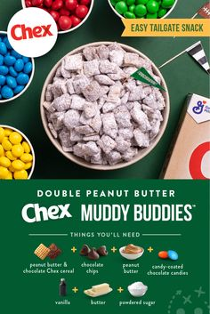 Double the peanut butter flavor with this twist on the classic Muddy Buddies™ snack mix that is every chocolate-peanut butter lover's dream. It starts with Peanut Butter Chex™ and Chocolate Chex™ cereal and ends with everyone asking for more. Snack Mix Recipes, Yummy Snacks, Delicious Desserts, Dessert Recipes, Cooking Recipes, Yummy Food, How Sweet Eats, Just Desserts, Powdered Sugar