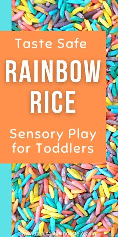 Learn how to make taste-safe rainbow rice for baby, toddlers and preschool sensory play activities. This sensory bin filler is fun and the recipe is so easy to make. #sensory #babies #toddlers #preschool Sensory Bins, Sensory Activities, Sensory Play, Toddler Activities, Rainbow Rice, Toddler Play, Gross Motor Skills, Preschool, Learning