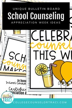 Curious about what to do for National School Counseling Week? This quick and low-prep lemonade themed celebration set is perfect for celebrating the counselors in your school! College and career readiness starts with honoring the counselors that help your students achieve higher! Shop College Counselor Traci for more ideas! #schoolcounseling #nationalschoolcounselingweek #NSCW #counselorappreciation Counselor Bulletin Boards, Counselor Office, School Bulletin Boards, National School Counseling Week, All Colleges, College Success, Appreciation Gifts, Lemonade, Celebration