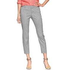 Light Blue Slim Cropped Linen Blend Pants 3% Spandex, 97% Cotton | Stretch doubleweave | Banded waist with belt loops | Hook & bar closure, zip fly | Front slant pockets, rear besom pockets | Fitted through the hip | Slim leg opening. GAP Pants Ankle & Cropped
