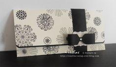 Pochette cadeau pour billets en vanille et noir. avec tampons fleurs stampin'up.