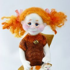 Needle Felted MADE TO ORDER Redhead angel Sculpture wool Dog Kitten ooak Doll Soft toy Interior Doll Collectible doll Collectible dog