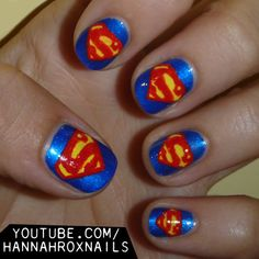 Manicure Monday: Superman Nail Art, by PixieAmor. Superman Nails, Superhero Nails, Batman, Get Nails, How To Do Nails, Hair And Nails, Fancy Nails, Colorful Nail Designs, Fabulous Nails