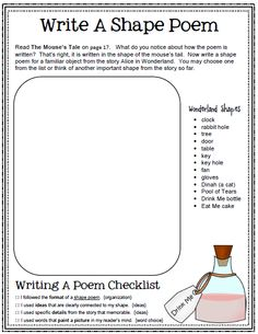 My Idea File: Alice in Wonderland unit.  Writing activities in a variety of forms and formats.  Writer's checklists included focusing on writing traits.