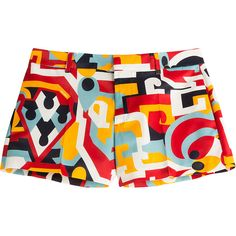 Dsquared2 Printed Silk Shorts (€164) ❤ liked on Polyvore featuring shorts, multicolor, multi colored shorts, slim shorts, slim fit shorts, cropped shorts and silk shorts