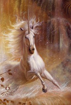 Valley Of Unicorns 3. Powerful painting of Unicorn running and splashing through golden water. Gorgeous long flowing mane. Fantasy forest. Please also visit www.JustForYouPropheticArt.com for more colorful prophetic art you might like to pin. Thanks for looking!