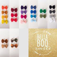 4 Hair Bows on Barettes by BellaBooSmile on Etsy