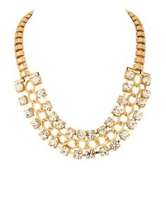 Gold Plated Entwined Necklace Studded With Sparkling Crystals