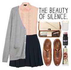 the beauty of silence by annsuzett on Polyvore featuring Vanessa Bruno, Topshop, Sandro, Jack Wills, TokyoMilk, Witchery, skirt, Oxfords, croptops and autumn