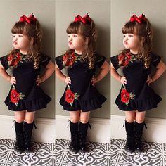 USA Toddler Kids Baby Girls 3D Flower Summer Party Dress Sundress Clothes 0-4T  | eBay