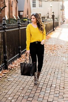 yellow-ribbed-v-neck-sweater