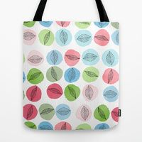 Tote Bag featuring Leaves Over Watercolor Dots by Robin Gayl