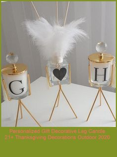 The product is sent in Gold Color.A personal decorative candle holder set adds elegance to your homes.Tassel and Feathers are sent with the products.You can put the feathers inside the fragrance bottle.#birthdaygift #personalized #birthdaygift thanksgiving decorations outdoor Personalized Gift Decorative Leg Candle 21+ Thanksgiving Decorations Outdoor 2020