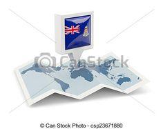 Square pin with flag of aland islands on the map. Norfolk Island, Marshall Islands, Northern Mariana Islands, Faroe Islands, British Virgin Islands, Cayman Islands, Royalty Free Stock Photos, Flag, Australia