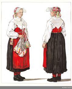 Folkdräkt från Gagnef. Dalarna, Sweden.  Sommardräkt för kvinna. Gagnef socken, Dalarna. Bildtryck efter akvarell av Emelie von Walterstorff.