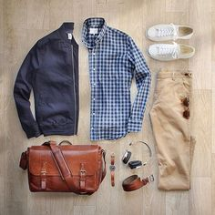 Want to be featured? Use #VoTrends at a chance to be featured!  __________________________________________ : @thepacman82 Chinos: @corridornyc Tan Stretch Chinos–Made in USA Shirt: @ledburyshirts Bag: @onabags Headphones: @lstnsound Jacket: @topman via @nordstrommen Watch: @tsovet Belt: @jcrew Shoes: @converse Jack Purcell