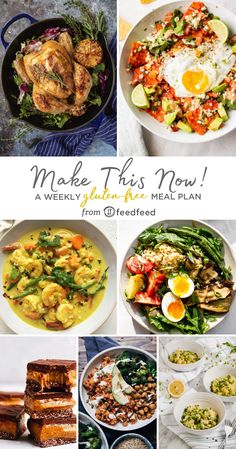 Here's This Week's Gluten Free Meal Planner! Risotto Recipes, Salad Recipes, Roasted Eggplant Salad, Free Meal Planner, Shrimp Curry, Spiced Rice, Beefsteak Tomato, Riced Cauliflower, Caramel Bars