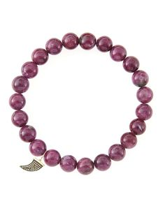 8mm Natural Ruby Beaded Bracelet with 14k Gold/Diamond Small Horn Charm (Made to Order)