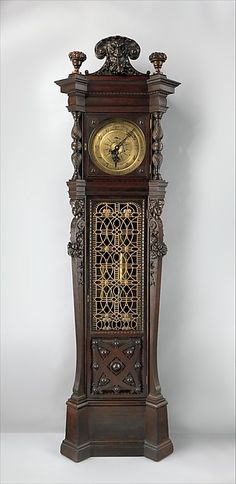 "George A. Schastey & Co. (1873–97). Tall case clock from the William Clark House, Newark, New Jersey, ca. 1882. The Metropolitan Museum of Art, New York. Collection of Brian A. Emery | This work is featured in the ""Artistic Furniture of the Gilded Age"" exhibition, on view through May 1, 2016. #GildedAgeFurniture"