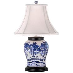 Blue and White Hang Porcelain Wine UrnTable Lamp - Lamps Plus