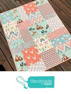 Baby Girl Quilt Woodland Nursery Crib Bedding Forest Animals Butterflies Bear Deer Buck from Carlene Westberg Designs https://www.amazon.com/dp/B01HIOWR7O/ref=hnd_sw_r_pi_dp_6AyCxbNEBHG8Y #handmadeatamazon