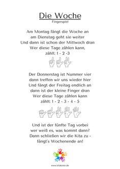 """DIe Woche"" Fingerspiel Kindergarten Kitakiste"