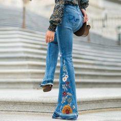 Autumn New High Waist Flare Jeans Wide Leg Pants Trousers – CuteClothesForTeens Denim Jeans, Denim Flares, Jeans Pants, Sexy Jeans, Black Jeans, Bell Bottom Pants, Bell Bottoms, Wide Leg Denim, Wide Jeans
