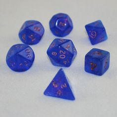 Blue Fire Opal Polyhedral Dice Set - RPG Tabletop Board Games