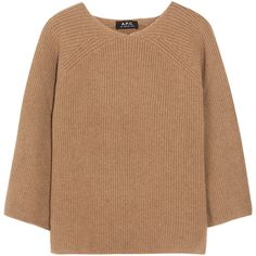 A.P.C. Atelier de Production et de Création Ribbed camel hair sweater (€285) ❤ liked on Polyvore featuring tops, sweaters, shirts, clothes - tops, layered sweater, beige sweater, brown crop top, raglan sweater and crop shirts