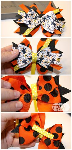 Learn how to make a stacked bow that is fun and festive. This bow is made with bright and adorable Halloween themed ribbon and adorned with a festive resin. Making Hair Bows, Diy Hair Bows, Diy Bow, Bow Making, Barrette, Hair Bow Tutorial, Flower Tutorial, Homemade Bows, Halloween Bows