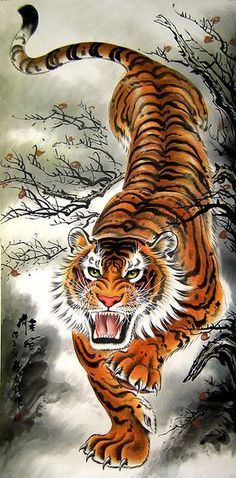 A traditional Chinese painting of Donwn-Hill Tiger for sell from China. Japanese Tiger Art, Japanese Tiger Tattoo, Chinese Tiger, Chinese Dragon, Chinese Art, Tiger Tattoo Sleeve, Lion Tattoo, Sleeve Tattoos, Tattoo Ink