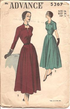 1950s Dress with Gathers at Shoulders and Hips by ErikawithaK Advance 5367