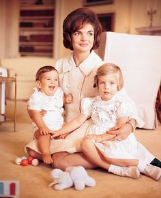 Jacqueline Kennedy with the children, John and Caroline, in 1962. (Architectural Digest December 2004)