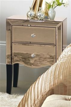 Buy Gatsby Bedside Chest from the Next UK online shop Art Deco Bed, Mirrored Side Tables, Bedside Chest, Girl House, Hollywood Regency, Accent Furniture, Next Uk, Uk Online, Home Accents