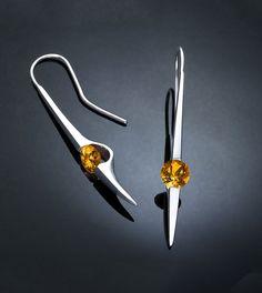citrine earrings, November birthstone, citrine jewelry, dangle earrings, statement earrings, Argentium silver, bold earrings, for her - 2444