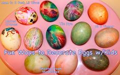 Fun Ways to Decorate Easter Eggs with Kids - including Melted Crayon, Marbleized, Tie Dye