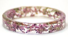 Real Dried Flower and Resin BanglePink Flower by ModernFlowerChild on Etsy