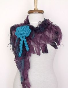 Butterfly Fringy Scarf with flower brooch by Smryna on Etsy, $17.50