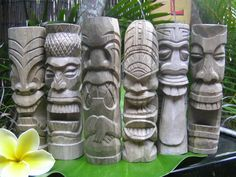 Here is the ultimate set of 6 Tikis, you can own them all at once for a really good combination offer...Each retail for over $27 each.  - Specification: 8 inches tall by 2.5 inches (20cm X 7cm).   - Wood: Hibiscus (green and beige natural color)!    Great addition to any Tiki collection!  Please visit our  LEARNING CENTER to know more about Hawaiian Tikis and the mythology behind it.