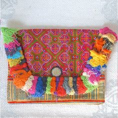 Vintage Batik Embroidered Hmong Tribe Ipad Clutch