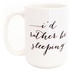 Moon & Lola I'd Rather be Sleeping Ebony Coffee Mug ($28) ❤ liked on Polyvore featuring home, kitchen & dining, drinkware, cup, drinks, black mug, wizard of oz coffee mug, moon and lola, ceramic cup and wizard of oz cups