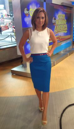 I bought this top and skirt at ! Office Attire Women, Work Attire, Office Outfits, Itv Weather Girl, Hottest Weather Girls, Ginger Zee, Legally Blonde, Work Wardrobe, Summer Wardrobe