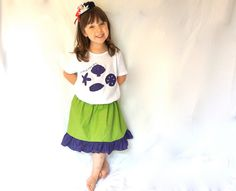 Little Girls Embroidered Shirt and Skirt Set - Green and Purple Ariel Themed via Etsy